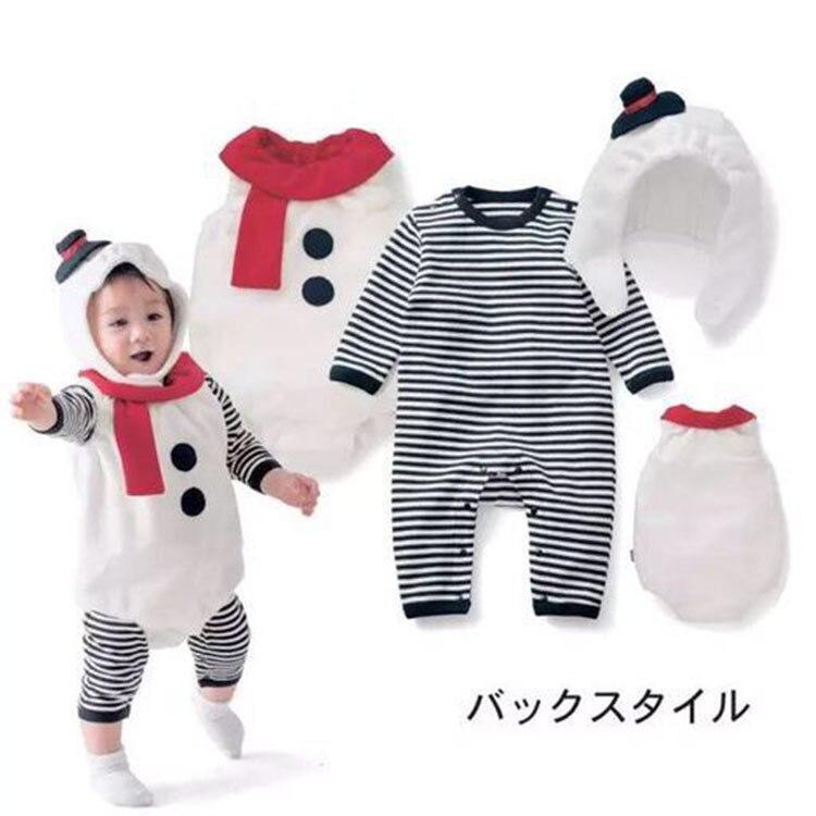92ae4e3b8c2 New Children s long sleeve stripe Romper+Vest+Hat Infant Toddler Boys Girls  snowman Costume pumpkin 3-piece suit set ~ Free Delivery April 2019