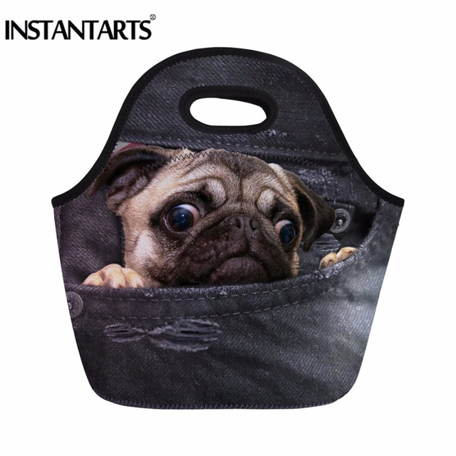 INSTANTARTS Black Denim Animal Printed Sport Outdoor Picnic Bags For Kids School Thermal Insulated Hiking Food Tote Bags Male