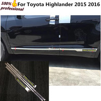 High Quality Car Styling Cover Detector Stainless Steel Side Door Body Trim Strips Molding 4pcs For