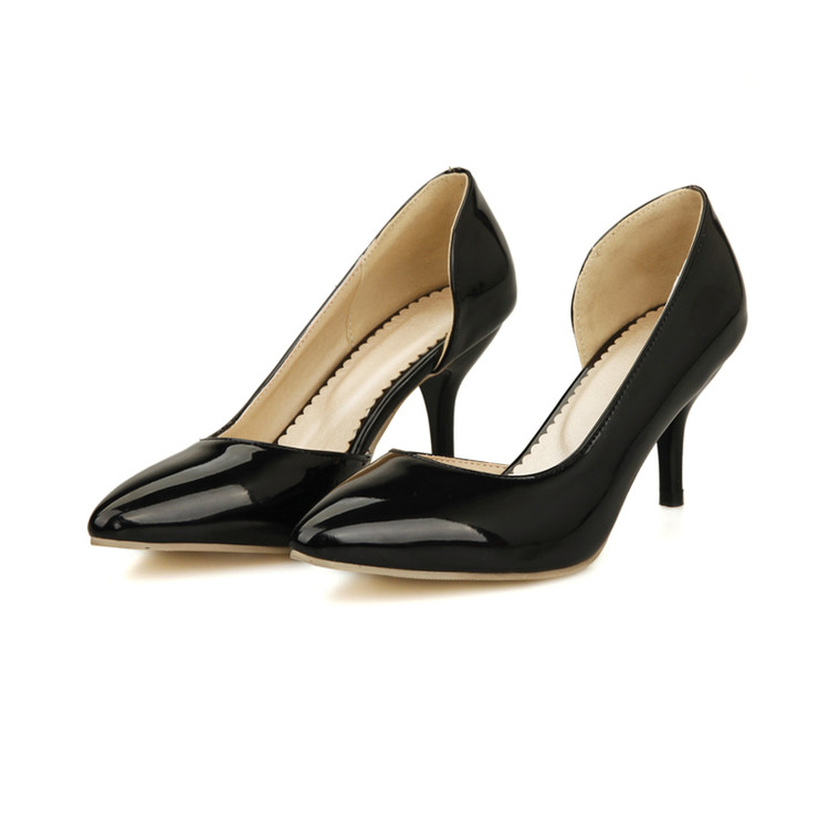 Women Shoes High Heel Limited Zapatos Mujer Tacon New 2017 Pointed Toe Ol Women Pumps Genuine Patent High Shoes Size 34-51 668
