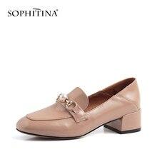 547a0ab6dcf7f0 SOPHITINA femme basique carré Med-talon haute qualité en cuir de vache mocassins  chaussures de luxe perle métal décoration éléga.