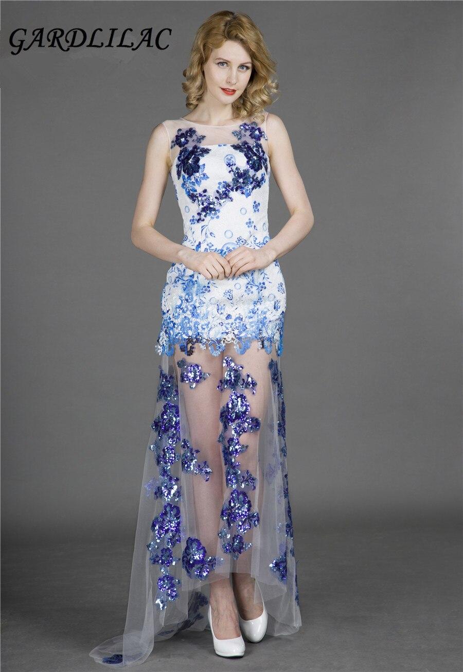 дантела апликация синьо дълго вечер рокля рокля елегантна вечерна рокля vestito да sera виж през роклята дълги рокля