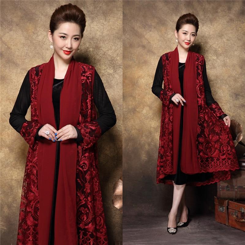 2018 Autumn Middle Age Women Plus size Elegant party Dress twinset lace party dress female Crochet