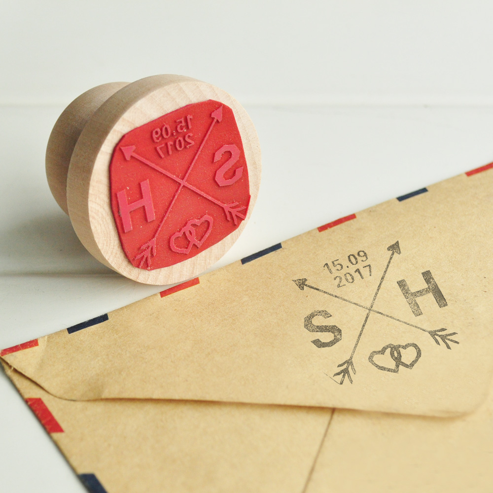 Wedding Favor Stamp Customize Stamp with Your Initials & Date Wood ...
