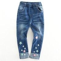 Freies verschiffen frühling herbst 2018 kinder denim hosen mädchen bunte sterne engen jeans kinder jeans