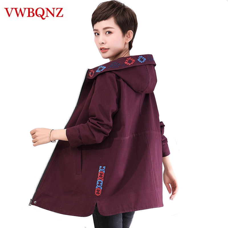 New Fashion Plus Size 4XL Women Loose Coat 2018 Spring Autumn Casual Hooded Long   Trench   Coat Female Slim Medium Long Outerwear
