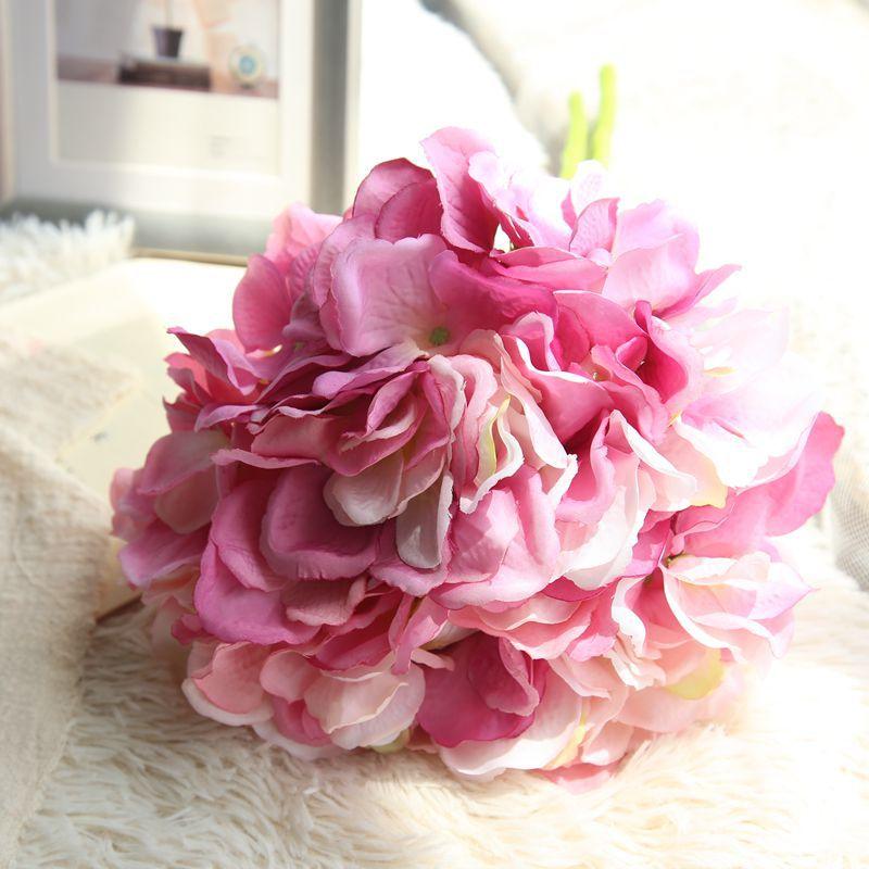 Artificial Hydrangea Silk Flower DIY Dekorativ Blom Bouquet Diy - Semester och fester - Foto 4