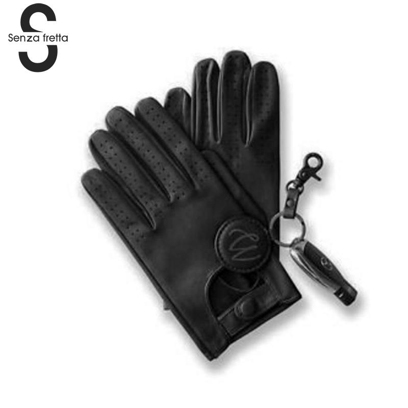 Mens Leather Gloves Mittens Hole Button Breathable Goat Genuine Leather Screen Mittens Men Driving Gloves Dropshipping