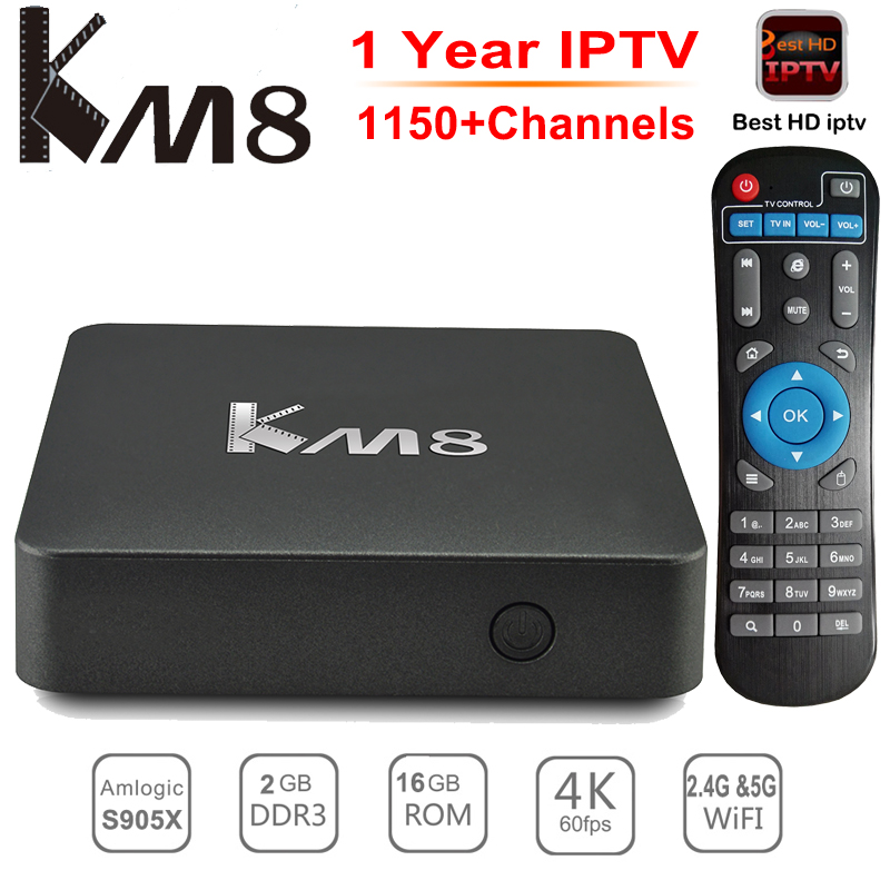 KM8 TV Box Android 6.0 BT 4.0 Amlogic S905X Quad Core 2GB/16GB 2.4G/5G Dual WiFi Smart Set-top Box UHD 4K HDMI 2.0 Media Player m8 fully loaded xbmc amlogic s802 android tv box quad core 2g 8g mali450 4k 2 4g 5g dual wifi pre installed apk add ons