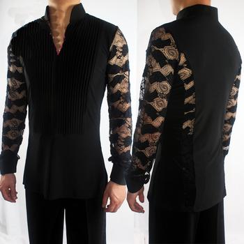 2018 New Ballroom Latin Dance Shirts Male Black Long Sleeve V Collar Shirt Men Samba Cha Cha Dancing Tops Performance Wear N7026