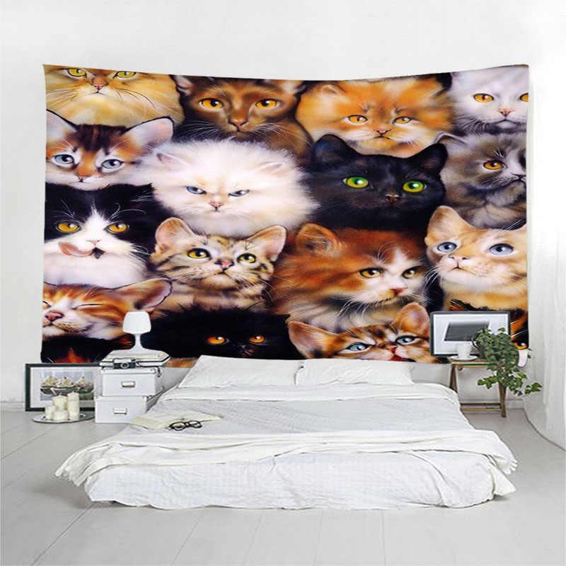 3D милый кот настенный гобелен покрывало пляжное полотенце домашний Декор стены гобелены Бохо покрывало Коврик для йоги