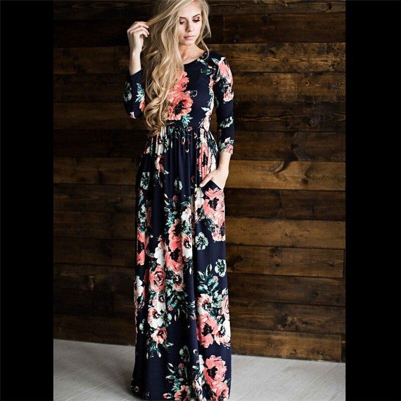 Sommer 2017 Frauen Retro Schöne Floral Langarm Rundhals Boho Kleid-abend-partei Lange Maxi Kleider Vestidos