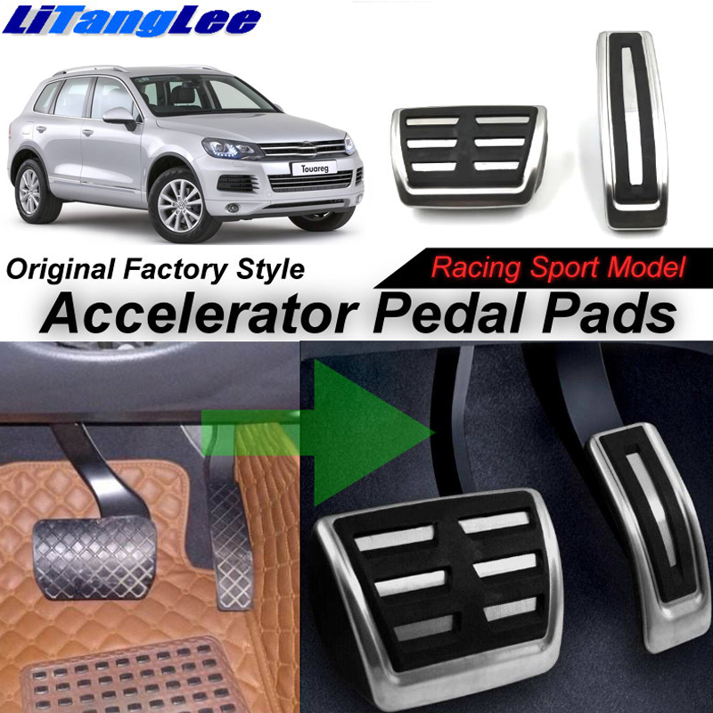 LitangLee Car Accelerator Pedal Pad Cover Sport Racing For Volkswagen VW Touareg 7P 2010~2018 AT Foot Throttle Pedal Cover litanglee car accelerator pedal pad cover racing sport for mini cooper clubman r55 f54 2007 onwork at foot throttle pedal cover