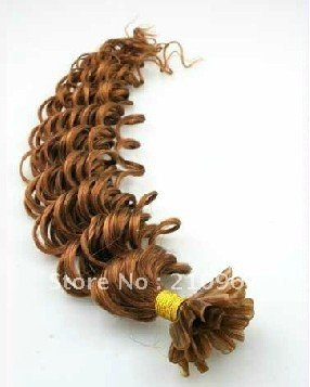 lady best gift free shipping 100%human hair keratin nail-up Remy hair wavy extension 0.7g color #8 chestnut brown 100pieces/set