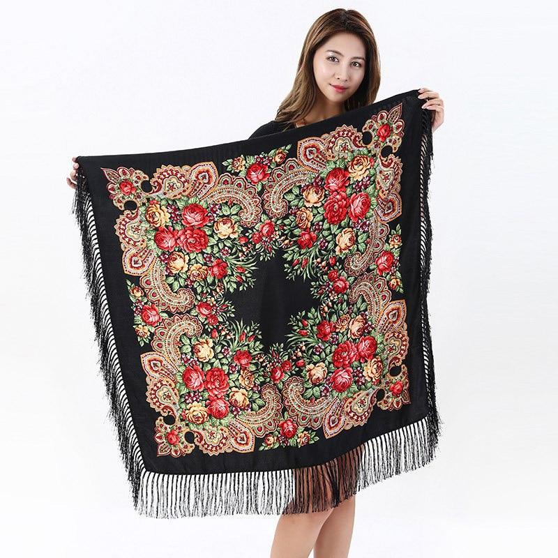 Russian Retro   Scarf   110x110cm Big Size Cotton Square   Scarf   Flower Tassel Hijab   Scarf     Wraps   Ladies   Scarf   Blanket Shawl Pashmina