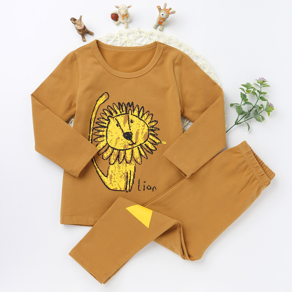New Casual Pajamas Sets For Girls And boys Character Sleepwear Children Long Sleeve T shirts Kids Trousers Cotton Clothing Suits