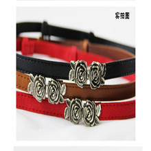 Strap flower women's rose buckle multicolor thin belt rose belt