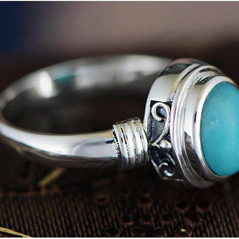 รับประกันแท้ 925 แหวนหมั้นแหวนเทอร์ควอยซ์สตรีเครื่องประดับอัญมณีธรรมชาติ Elegant Fine เครื่องประดับ Ringen