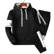 2019 Spring Autumn Causal Mens 2 pieceSet Tracksuit Men Gym Long Sleeve Hip Hop High street Hooded Sweatshirt Sportwear set