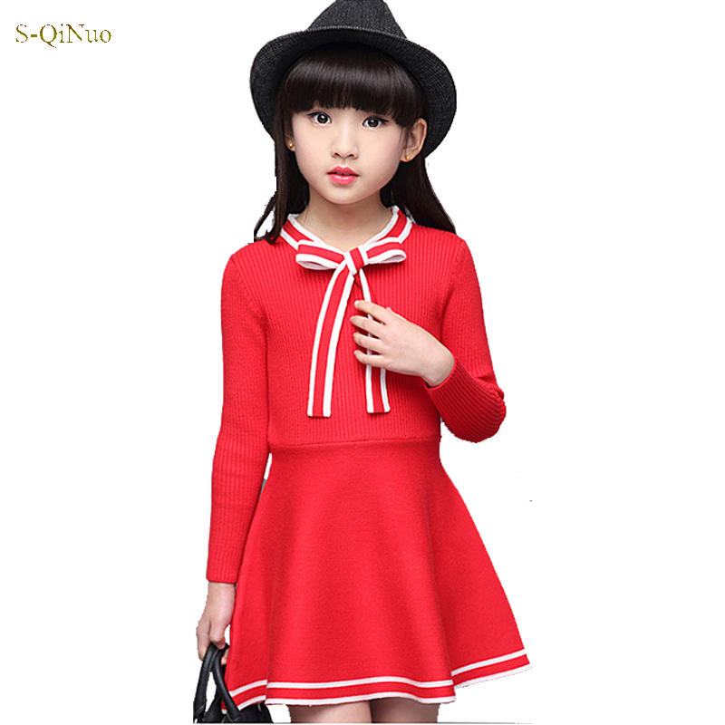 Fashion kids autumn dresses for girls dress long sleeve cotton Princess Wedding Party red Dresses Clothes for 10 11 12 13 years fashion 2016 new autumn girls dress cartoon kids dresses long sleeve princess girl clothes for 2 7y children party striped dress
