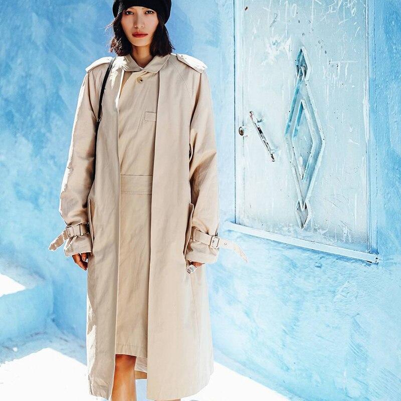 Avec Nouveauté Deux navy Long De Ceinture Trench Khaki Femmes Pièces Faux Street High Conception coat Fashion 2019 Pour Manteau Printemps PtaqBHwWpx