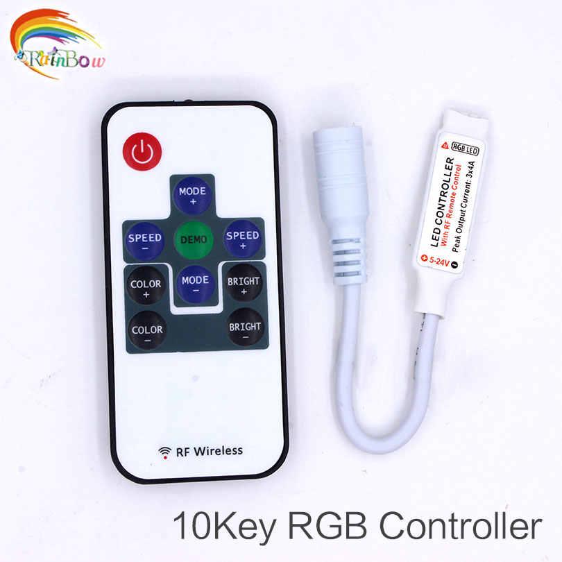 1 шт. маленький, радиочастотный, беспроводной пульт дистанционного управления светодиодной лентой регулятор светодиодной яркости контроллер для RGB Цвет световая полоса SMD5050/3528/5730/5630/3014