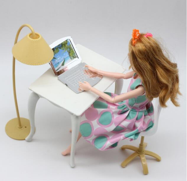 Mix Color Doll Play House Doll Furniture Desk+Lamp+Laptop+Chair Accessories  For 1/6 Doll (Not Include The Doll)