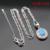 Ronda Creado Topacio Blanco Ópalo de Fuego Azul de Plata de Color Pendientes de Gota Colgante de Collar de Sistemas de La Joyería Para Las Mujeres Anillos de Regalo