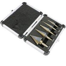 NEWACALOX 5PCS HSS Cobalt Multiple Hole 50 Sizes Step Drill Bit Set Tools Aluminum Case