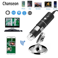 Digital WiFi Microscope HD 2 Mega Pixels 1000x Magnification Endoscope Camera 8 Leds with Metal Stand for IOS and Android Tablet