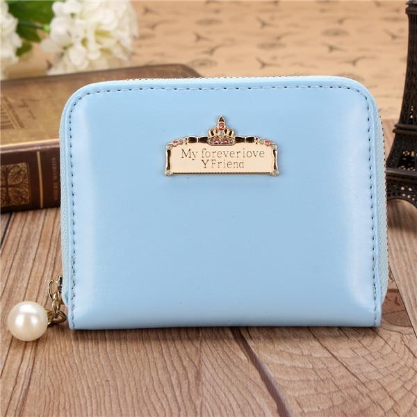 Women Candy Color Crown Pearl Design Short Wallet Girls Cute Zipper Sweet Purse Card Holder Coin Bag 2016 New