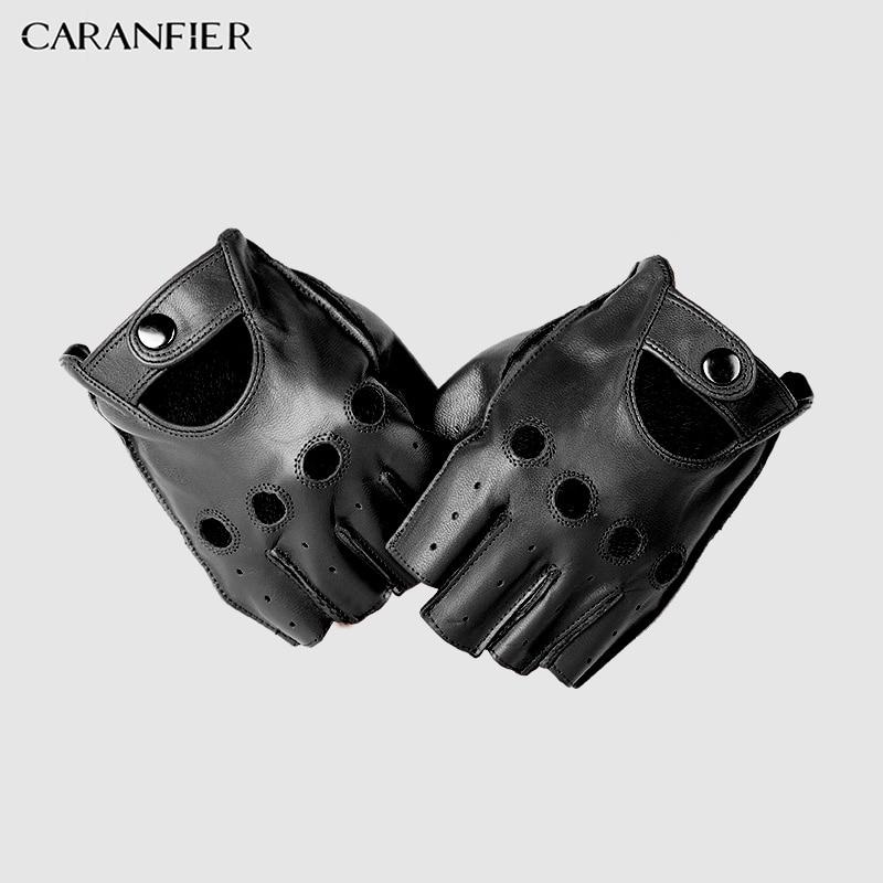 CARANFIERI Mens Genuine Leather Gloves Slip-resistant Half Finger Sheepskin Fingerless Gym Fitness Driving Men Gloves Gants Moto