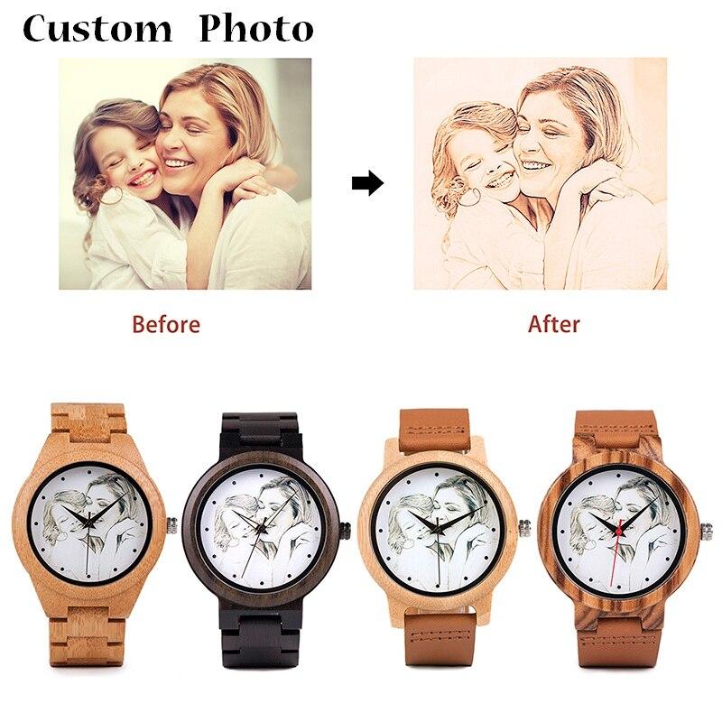 BOBO BIRD Personality Print Buyer's Photo on Wood Watches Custom Men Women Watch Creative Quartz Wristwatch relogio masculino