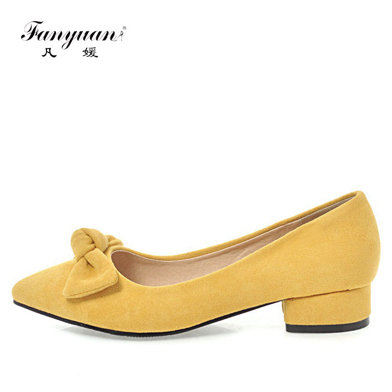 Fanyuan 2018 square low heels Women soft Shoes Sweet butterfly-knot Sexy pointed toe slip on solid sweet Dress pumps size 34-43 brand new fashion casual slip on sweet grey white women shoes solid summer style shoes woman 2 colors low square heels pumps