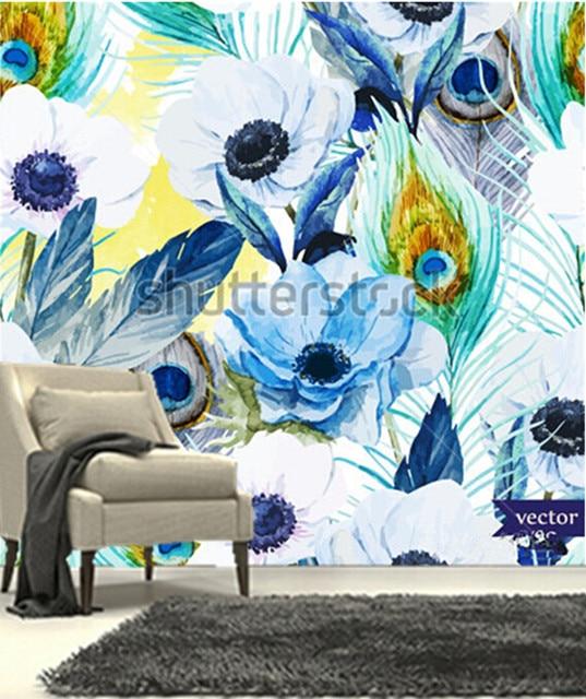 The Custom Murals Flowers Anemones Lilac Boho Pattern Wallpaper
