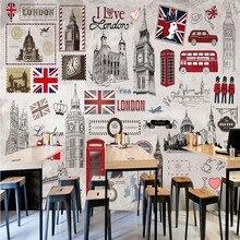fe8663e9d13 Пользовательские 3d обои Ретро ностальгию Британский Европейский стиль КТВ  Бар Кофе Задний план настенная Ресторан пользовательс.