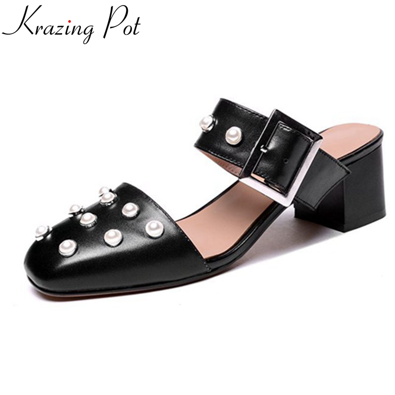 Karzing pot 2018 slip on fashion brand summer shoes square toe med heel Pearl mules slingbacks sweet fairy style women pumps L51 2018 patent leather slip on keep warm pumps for women square toe preppy style pearl wedding med heels brand winter shoes l18
