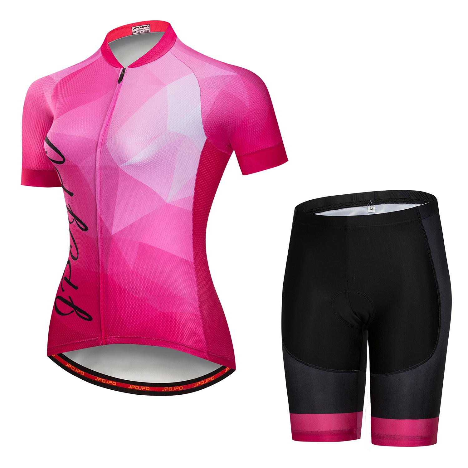 JPOJPO Pink Summer Pro Short Sleeve Women Cycling Jersey Set riding MTB bicycle Jersey Sets Ropa Ciclismo bike Clothes