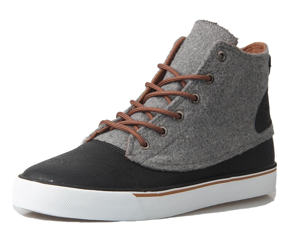 Prix pour TWEAK Hommes Garçons Classique High Top Sneakers Sport Chaussures Noir Gris Chaussures de Skate Plat à lacets Baskets En Cuir Véritable 2017