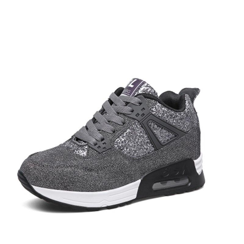 Mode 2019 black Grey Respirant 7 Casual Marche Formateurs Automne Appartements dark Chaussures Femmes Printemps Grey De Light Talons Cm Croissante Marque Hauteur qBnfRntE1