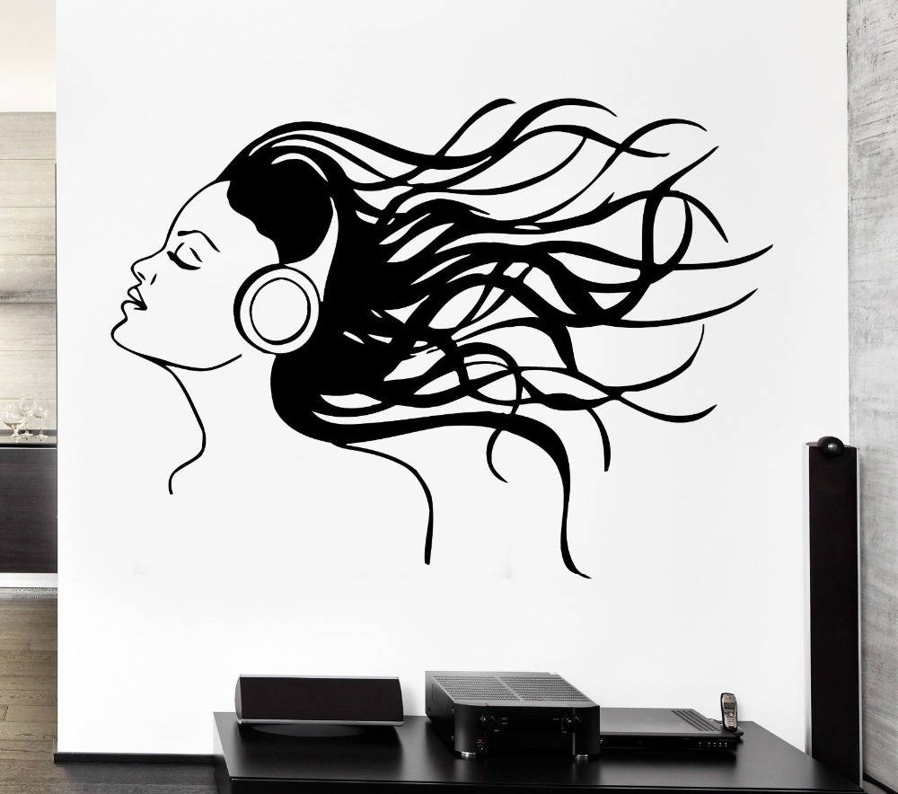New Sexy Girl Vinyl Wall Headphones Music Hair Cool Decor Sexy Girl Rock Pop Song For Bedroom Mural Wall Sticker Home Decoration image
