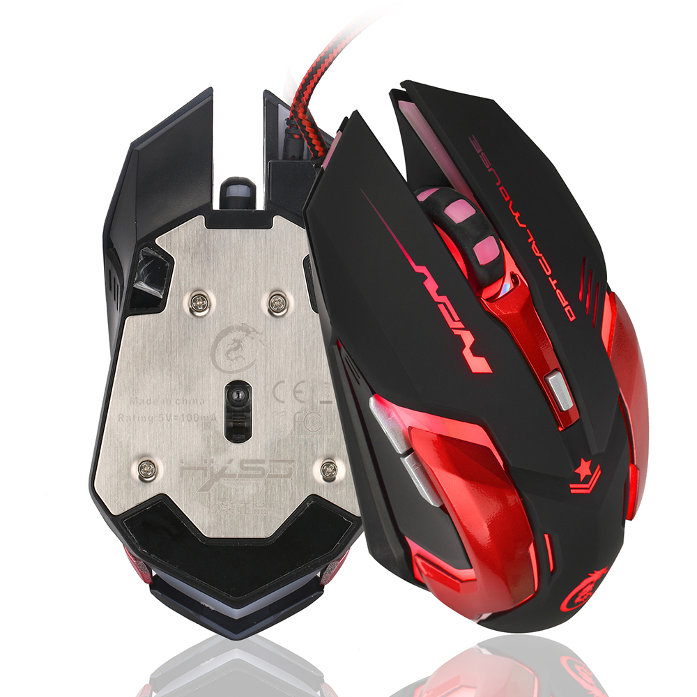 H500 English Mouse Game 3200DPI LED Metal Mechanical Backplane Gaming Mouse USB Wired Glowing Mouse For Computer Laptop-in Mice from Computer & Office