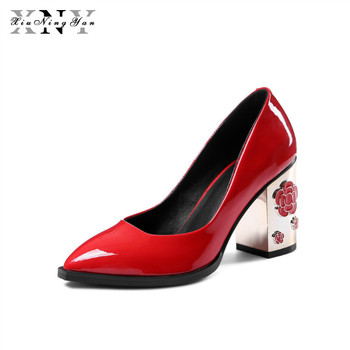 XIUNINGYAN Women's Pumps Charming Metal Flower Thick High Heels Genuine Leather Pointed Toe Wedding Shoes Woman Party Footwear