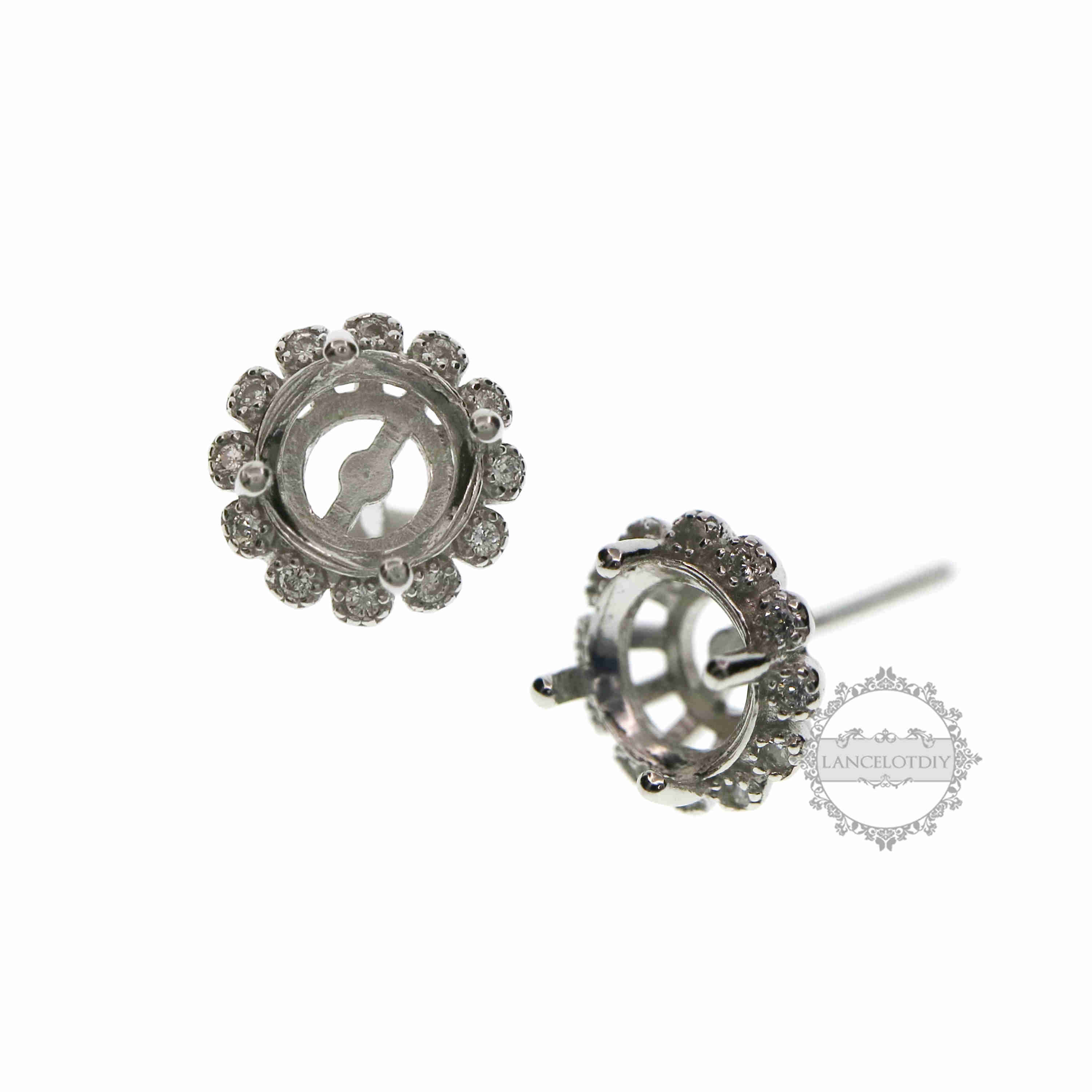 6MM Round Prong Bezel Setting Solid 925 Sterling Silver Studs Earrings DIY Supplies 1702176