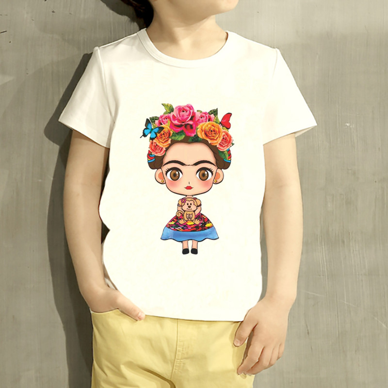 Kids Frida Kahlo Cartoon Design T Shirt Boys/Girls Great Casual Short Sleeve Tops Children Cute T-Shirt,HKP2145 children s anime my neighbor totoro printed t shirt kids great casual short sleeve tops boys and girls cute t shirt