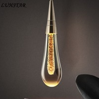 Water drop Glass Pendant Lights Bedroom Bedside Lamp Post modern Designer Crystal Pendant Lamp Dining Room Kitchen Hanging Lamps
