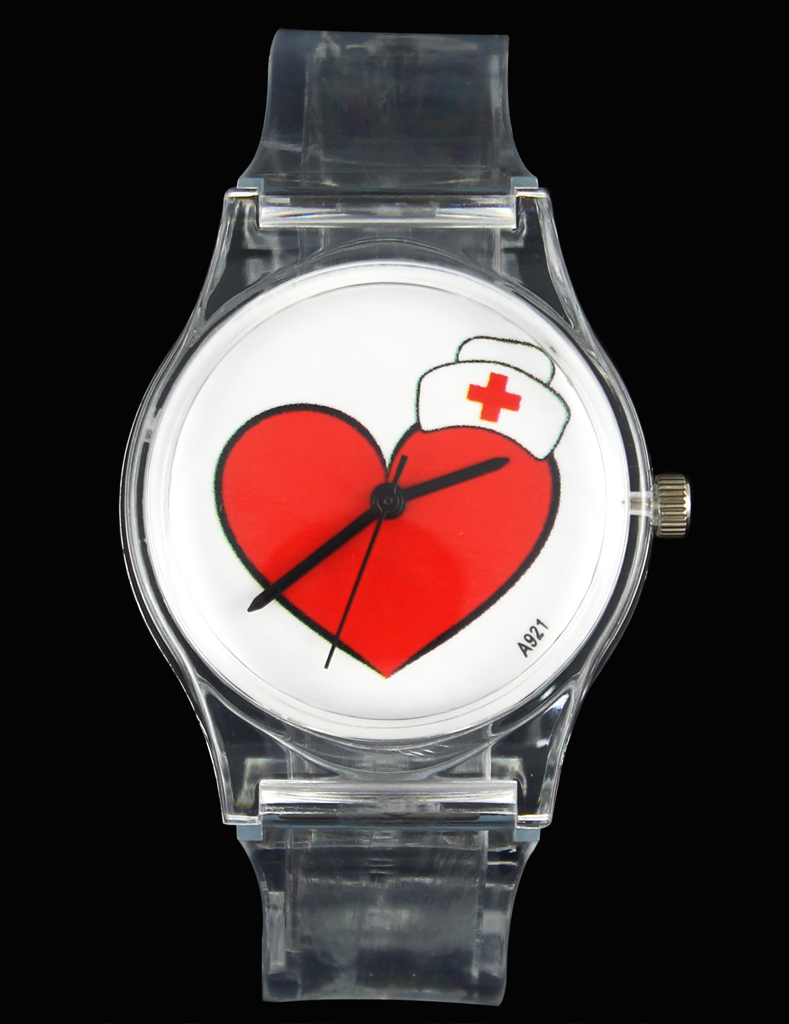 Ángel AMOR / Casquillo del corazón Cruz Roja / Enfermera Médico / TE ENCANTA Moda Mujeres Señoras Relojes Relojes de pulsera para los amantes de la transparencia