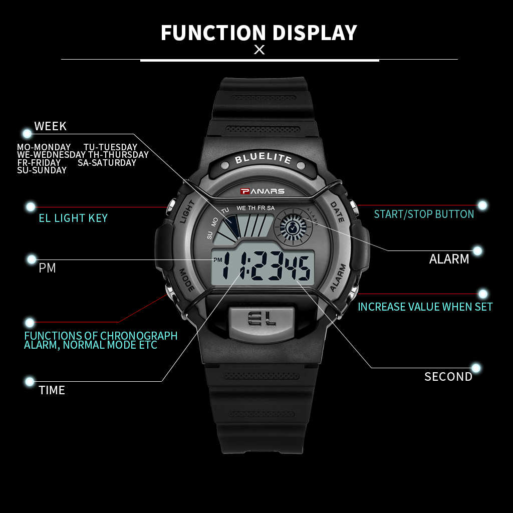 PANARS الرجال ساعة رقمية مضيئة الرياضة الرجال ساعة معصم ساعة 5 بار مقاوم للماء أسود اللون كرونوغراف الرجال ساعة LED العرض