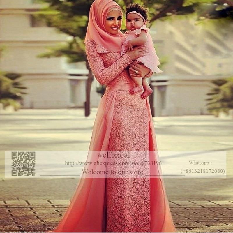 Fully Lace 2016 Long Sleeve Muslim Robe de Mariage font b Hijab b font Dubai Saudi