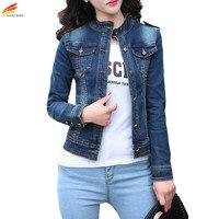 Autumn 2018 Denim Jacket For Women Blue Color Long Sleeve Slim Wild Jeans Jacket Women Slim Single Button Denim Coat Outwear